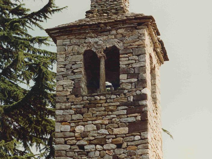 Fondo Afi - Ceresolo - Chiesa romanica dei santi Nazario, Celso e Defendente (Sec. VII- XV) - Torre campanaria -Foto Franco Rinaldin - 1991