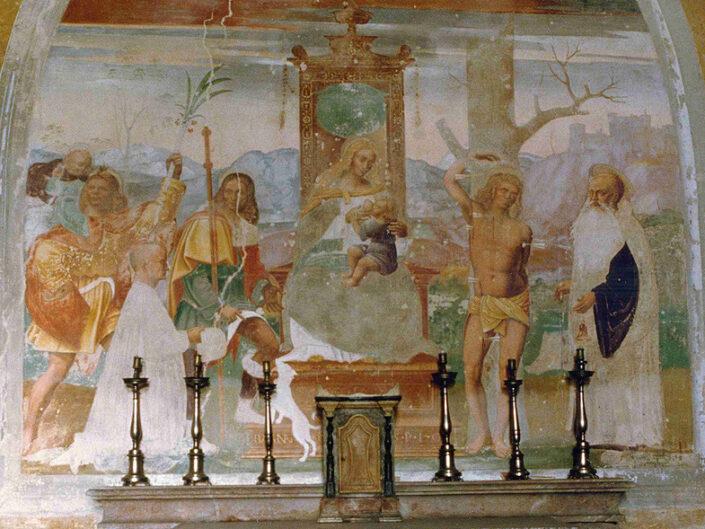 Fondo Afi - Uboldo - Oratorio della Madonna del Buon Soccorso (Sec. XVI) - Affresco della Sacra Conversazione (1507) - Foto Roberto Bosio - 1991